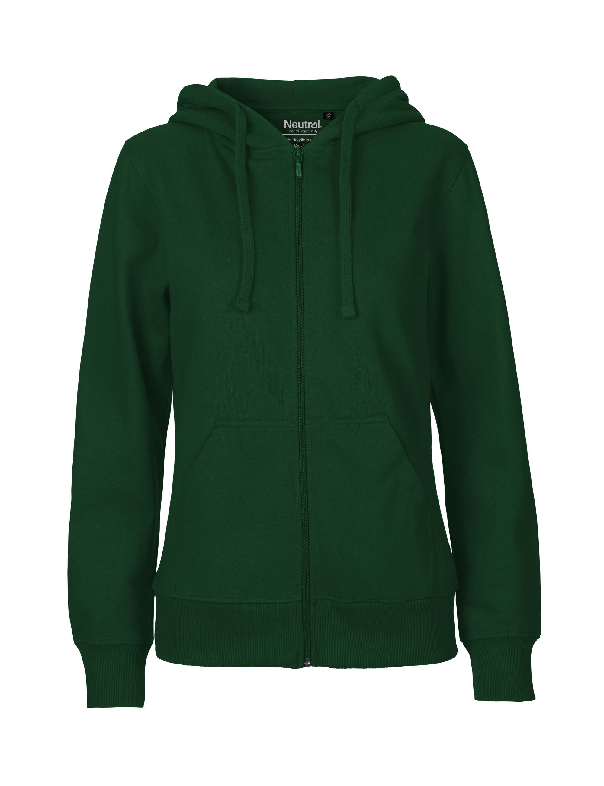 O83301 Ladies Hoodie w. Zip i Bottle Green