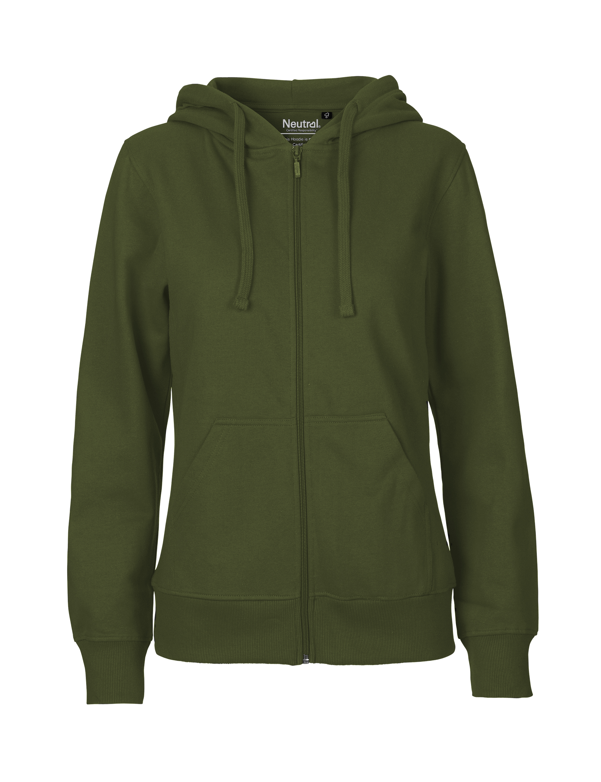 O83301 Ladies Hoodie w. Zip i Military