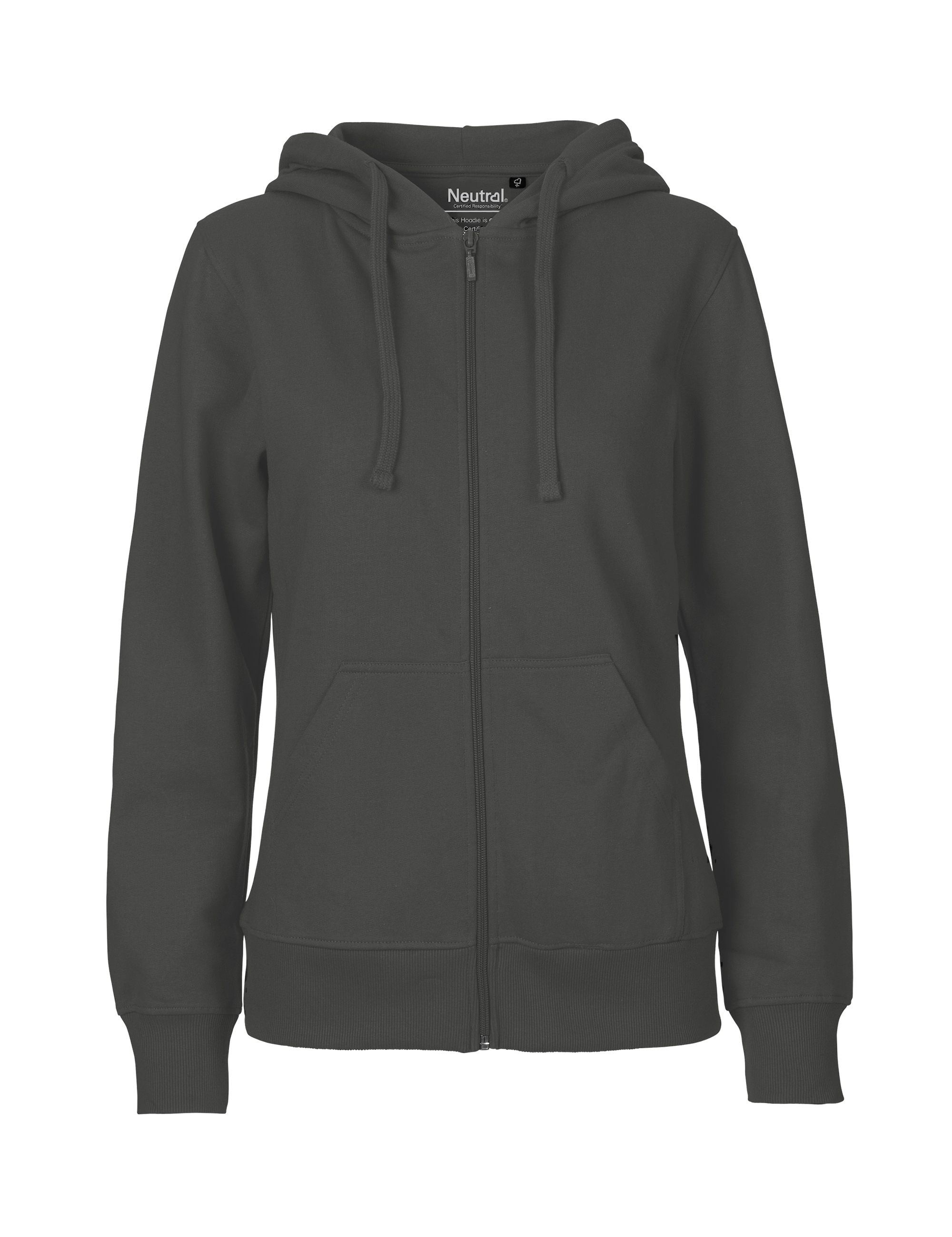 O83301 Ladies Hoodie w. Zip i Charcoal