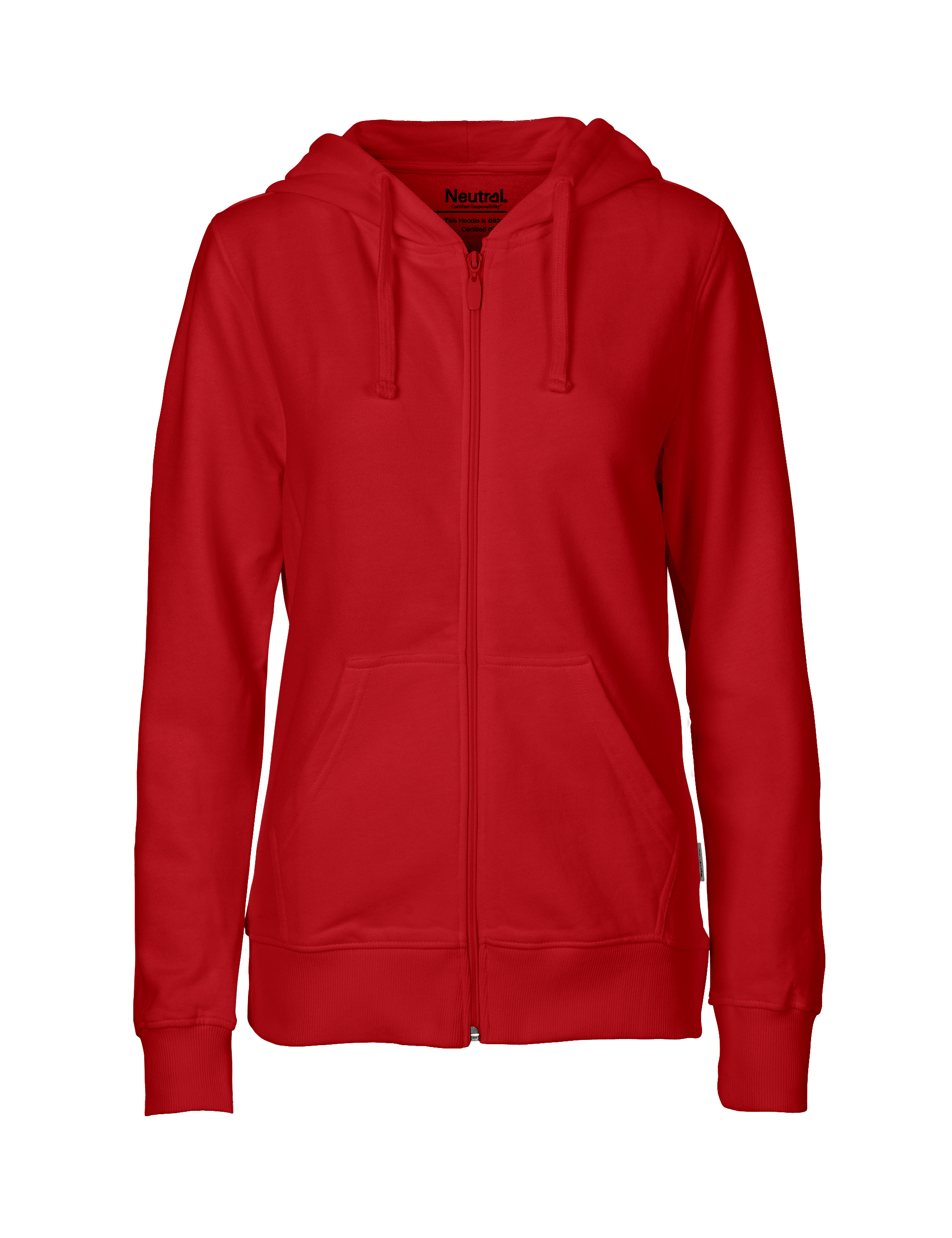 O83301 Ladies Hoodie w. Zip i Red