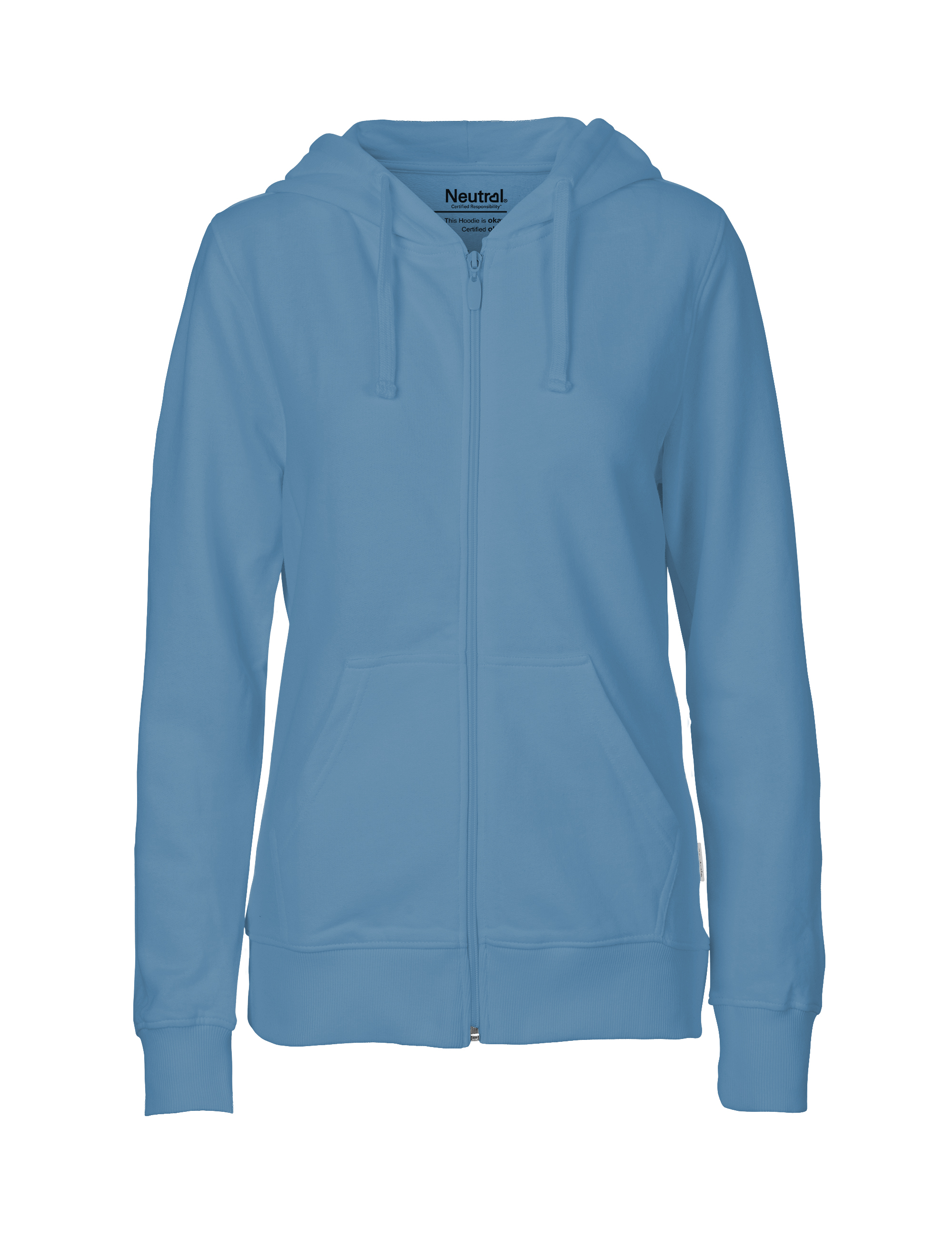 O83301 Ladies Hoodie w. Zip i Dusty Indigo