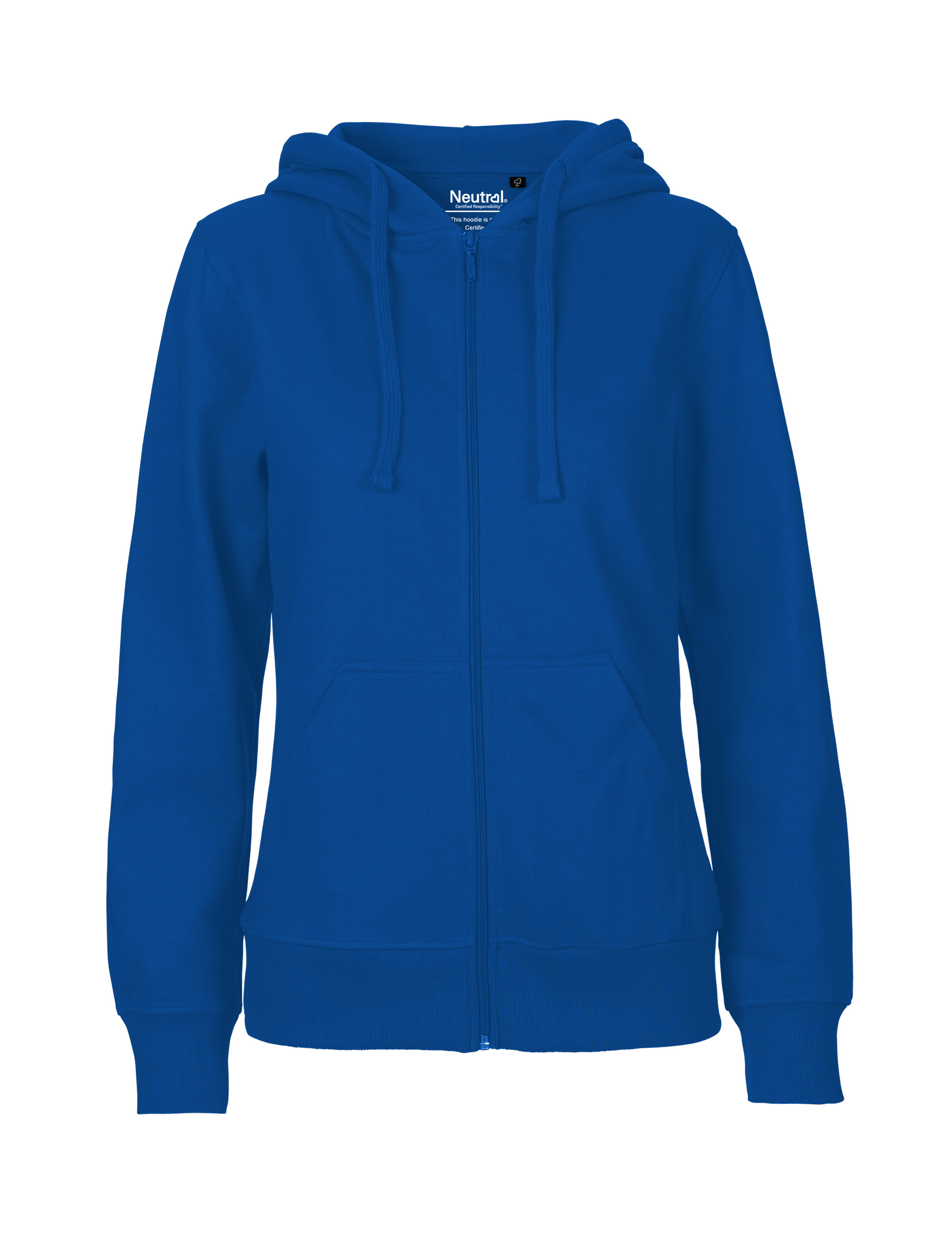 O83301 Ladies Hoodie w. Zip i Royal