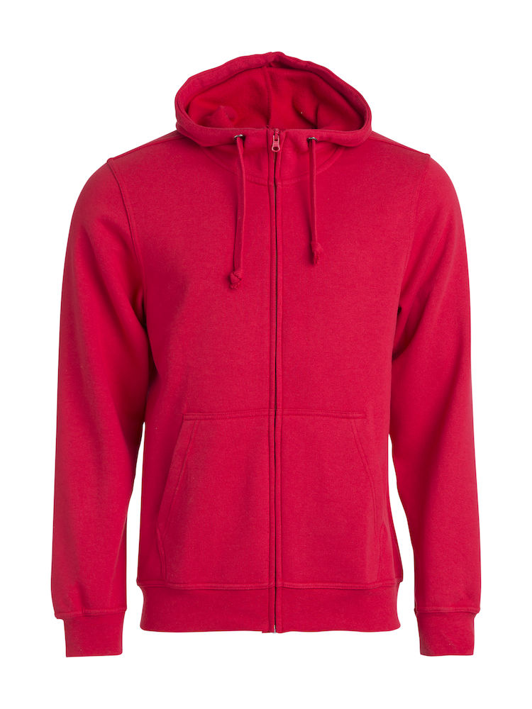 021034 Basic Hoody Full zip i 35-Rød