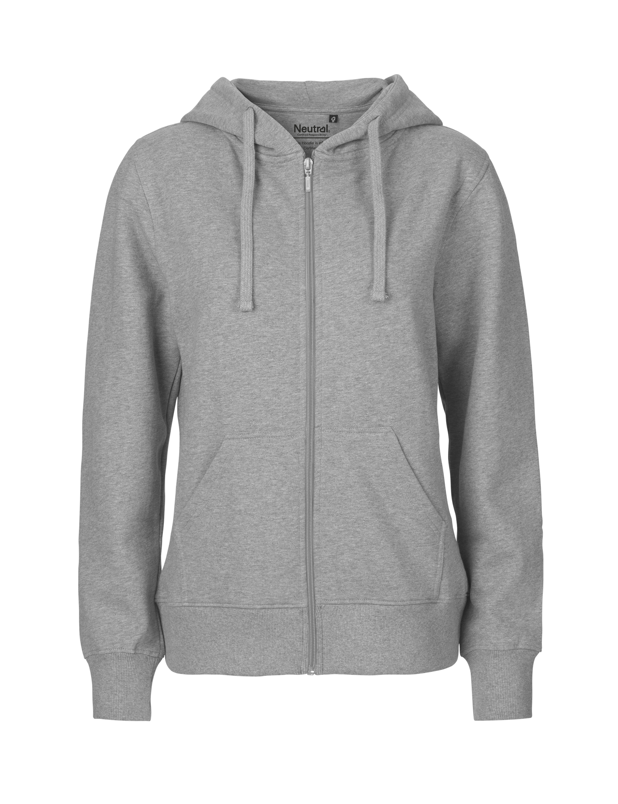 O83301 Ladies Hoodie w. Zip i Sport Grey
