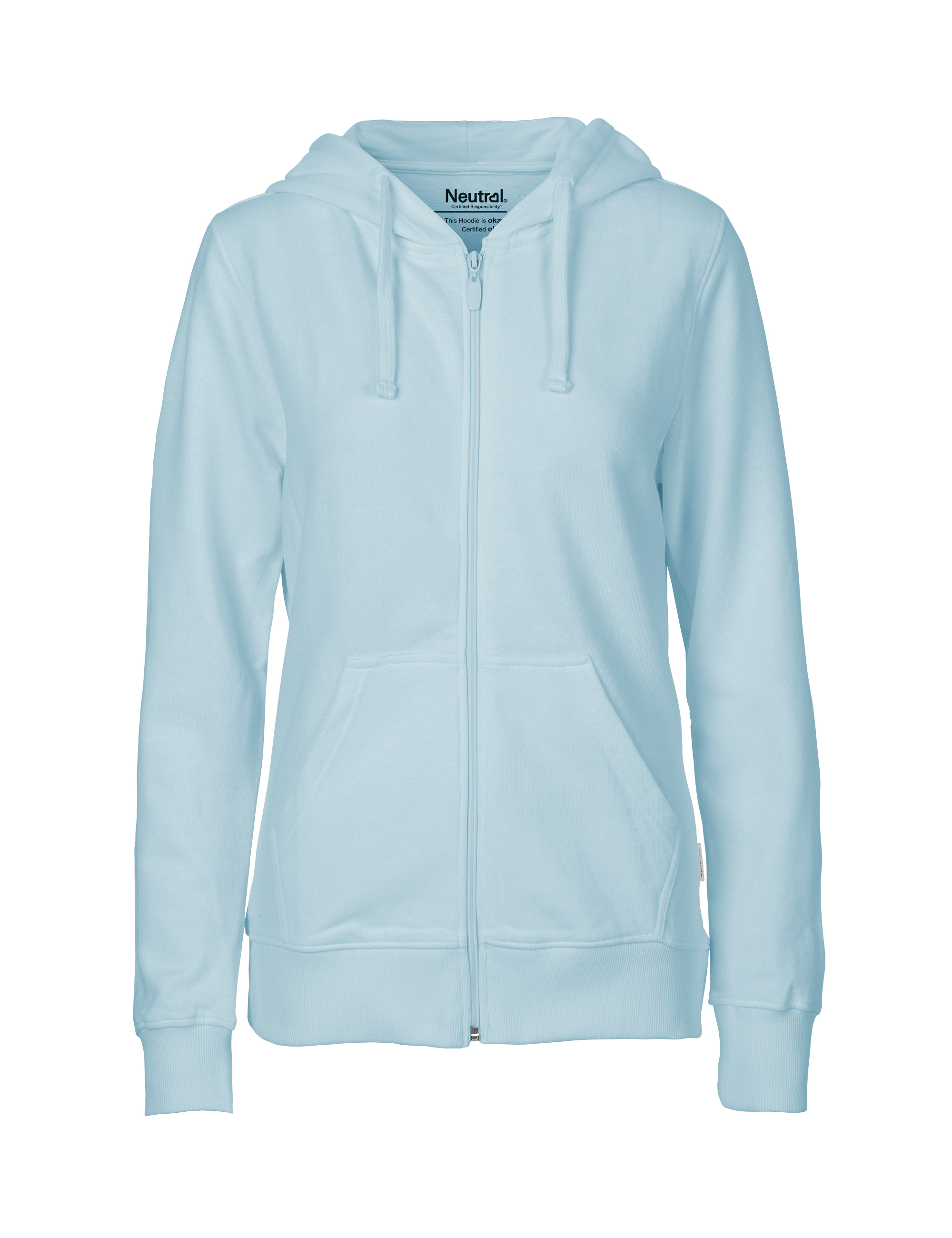 O83301 Ladies Hoodie w. Zip i Light Blue