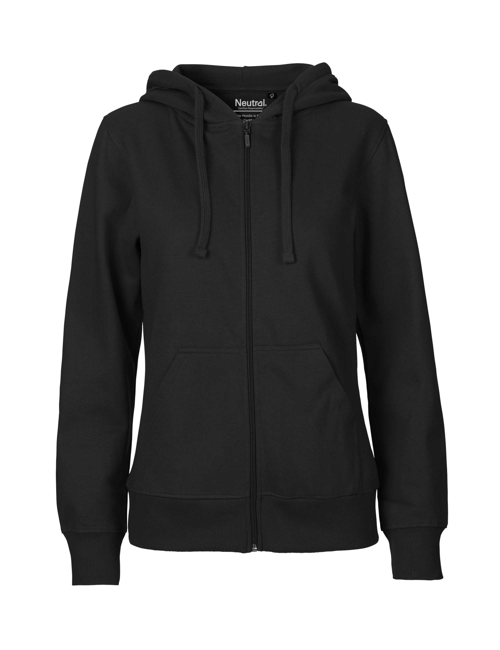O83301 Ladies Hoodie w. Zip i Black