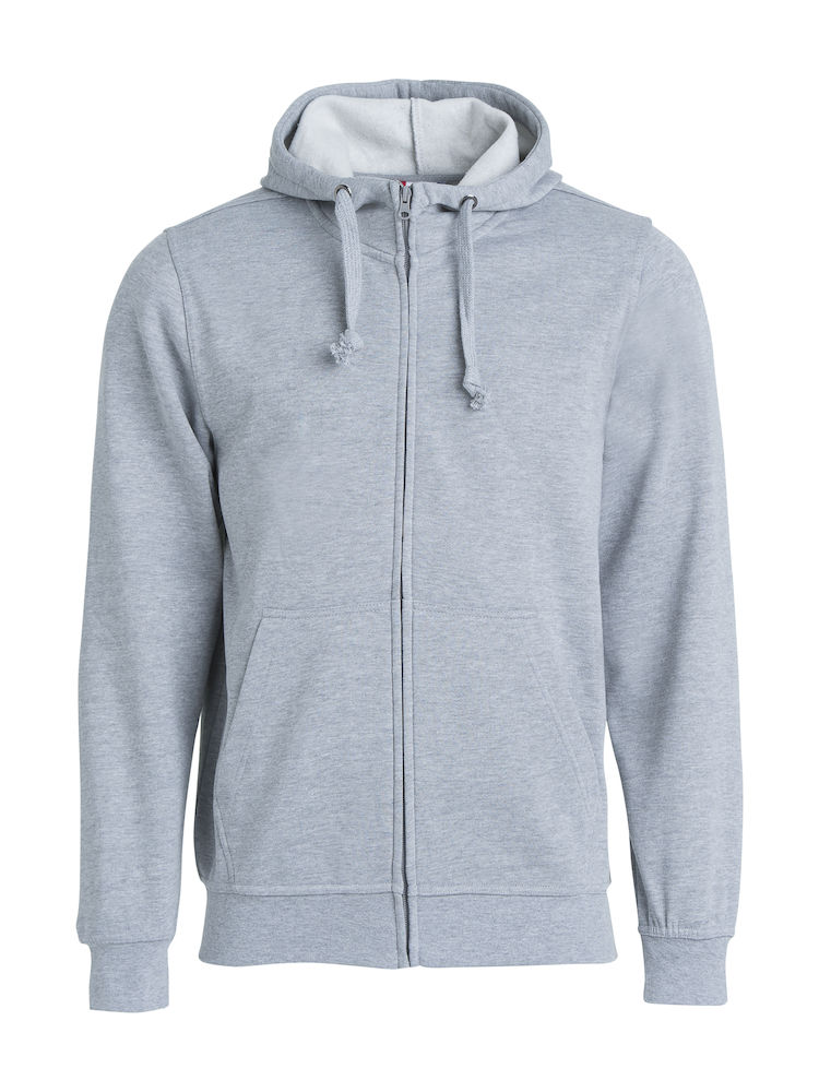 021034 Basic Hoody Full zip i 95-Gråmeleret