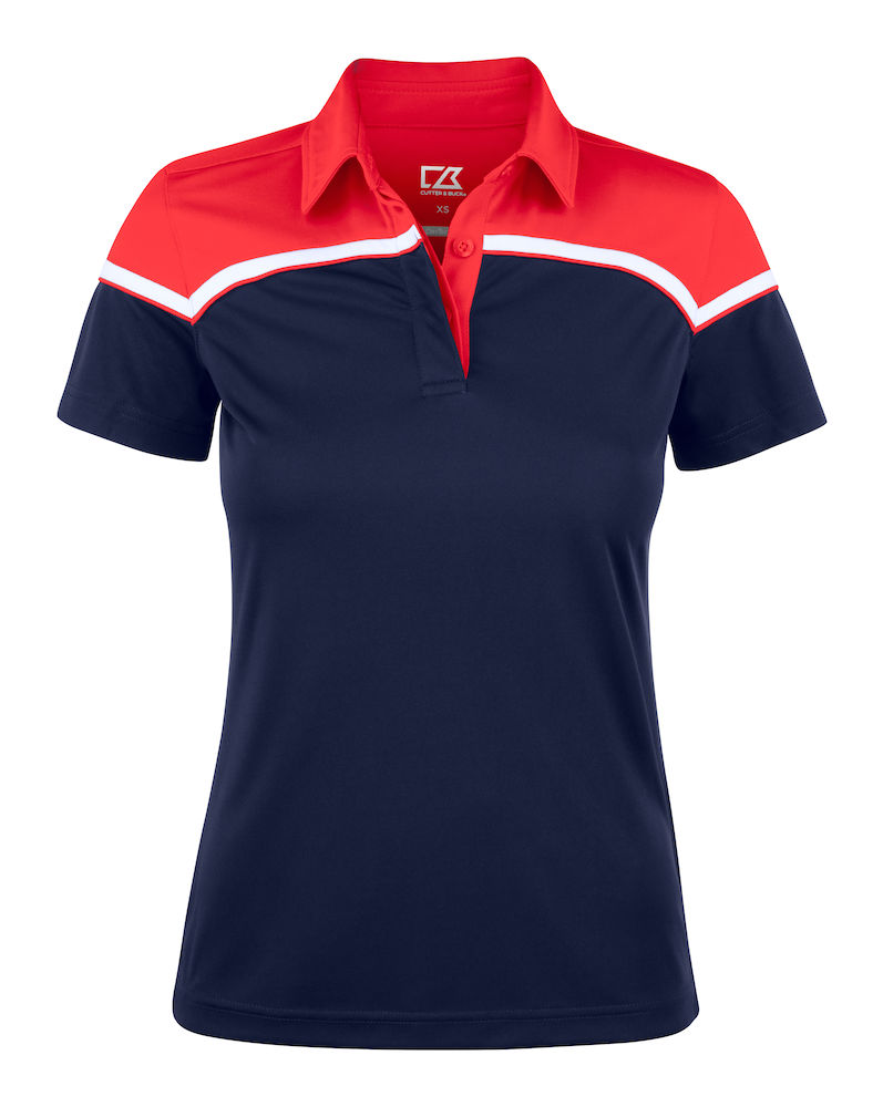 354429 Seabeck Polo Ladies i 58035-Dark Navy/Red