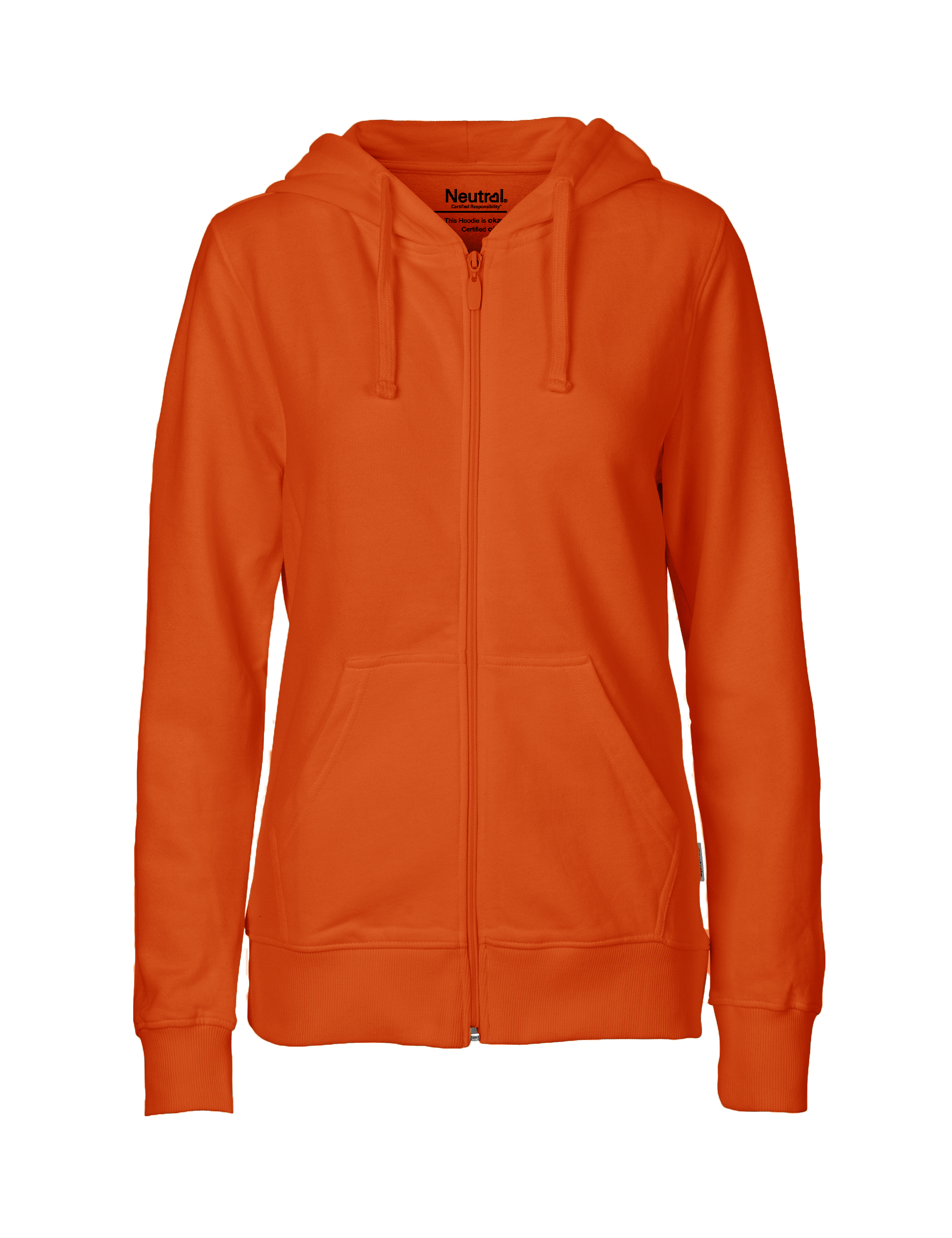 O83301 Ladies Hoodie w. Zip i Orange