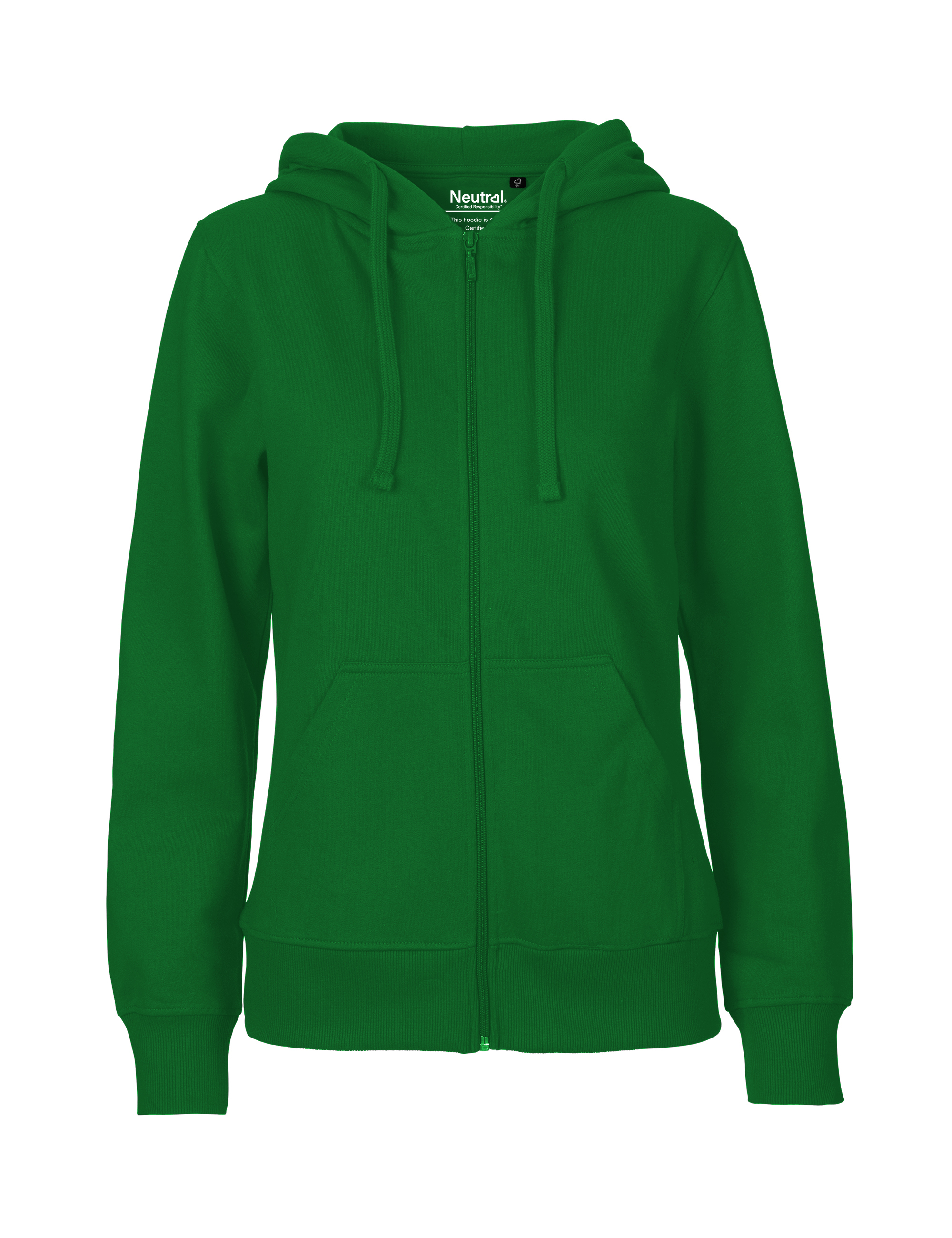O83301 Ladies Hoodie w. Zip i Green