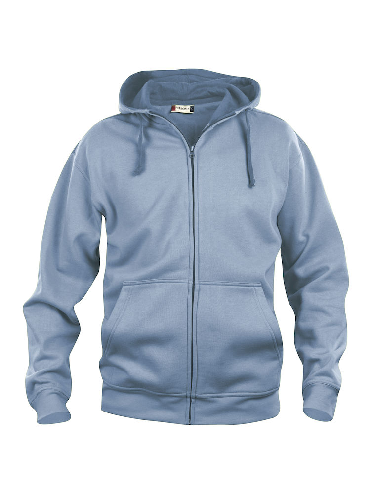 021034 Basic Hoody Full zip i 57-lys blå