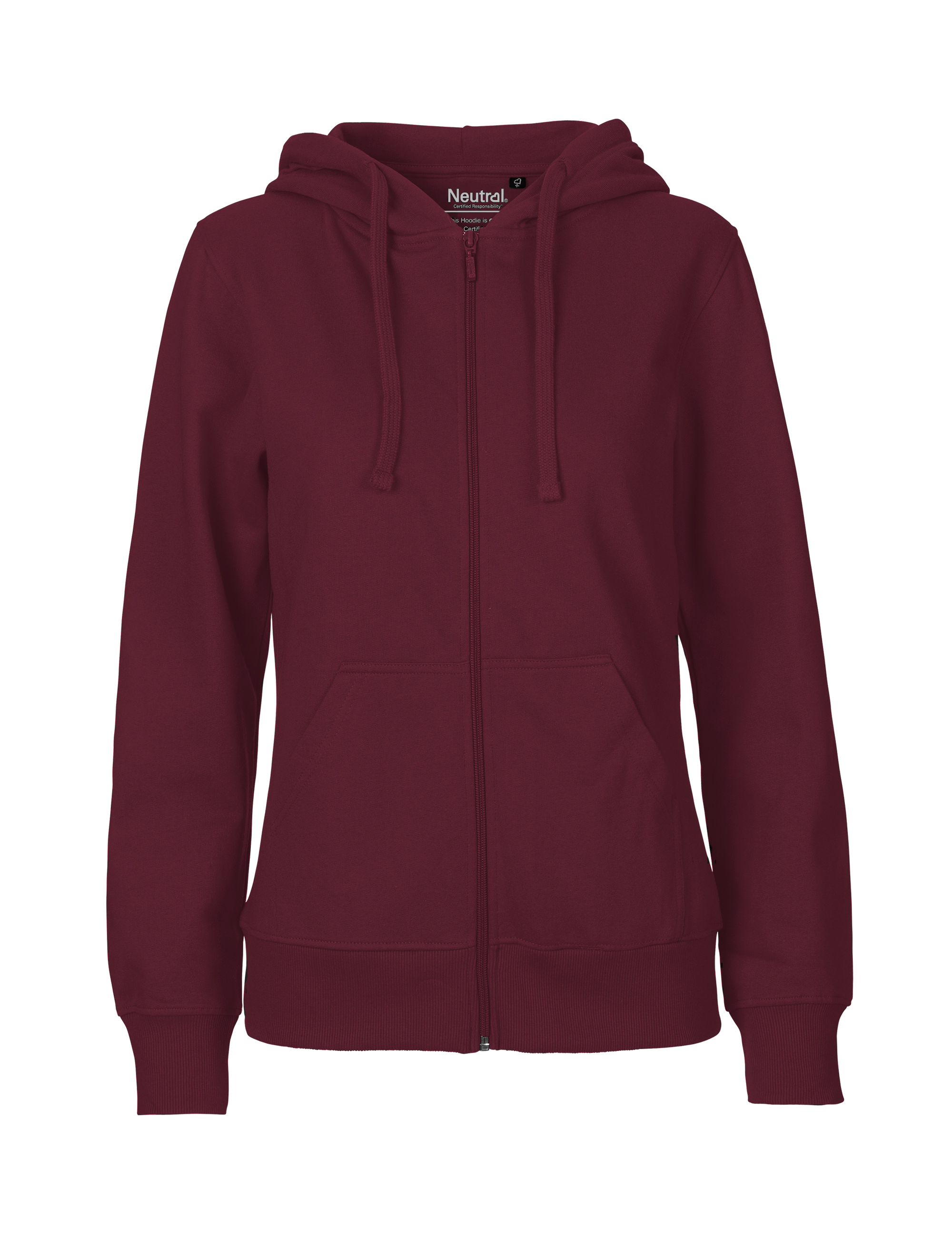O83301 Ladies Hoodie w. Zip i Bordeaux